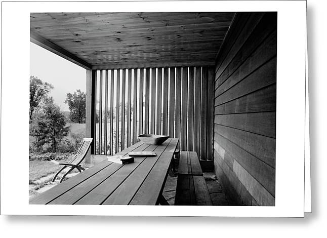 Interior End Of Porch With Vertical Louvers Greeting Card