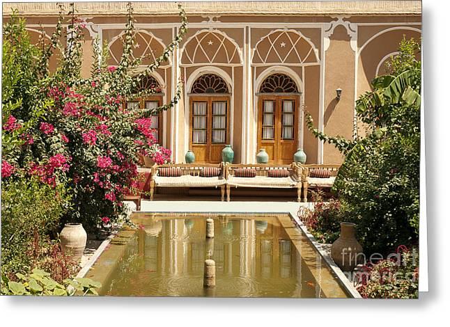 Interior Garden With Pond In Yazd Iran Greeting Card