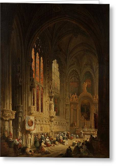 Interior Of A Cathedral, 1822 Or 1829 Greeting Card