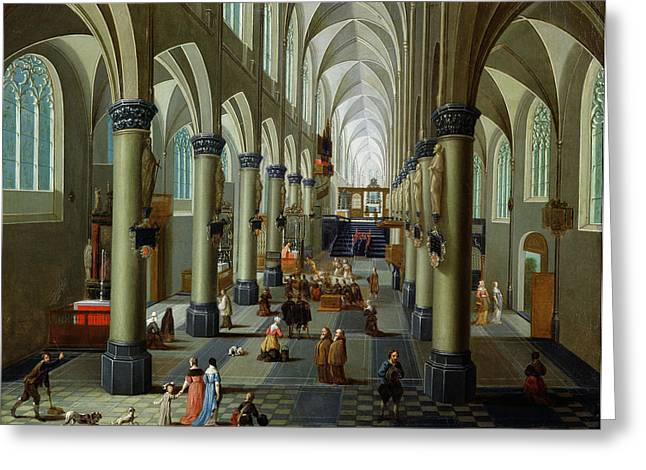 Interior Of A Church Oil On Panel Greeting Card by Pieter the Elder Neeffs