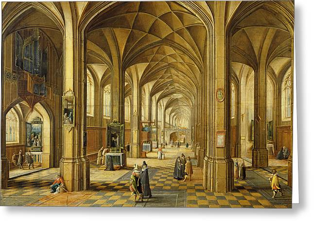 Interior Of A Gothic Style Church With Three Naves Oil On Canvas Greeting Card by Hendrik the Younger Steenwyck