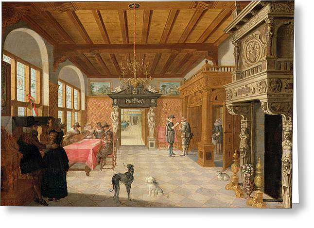 Interior Of A Hall With Figures, 1621 Greeting Card