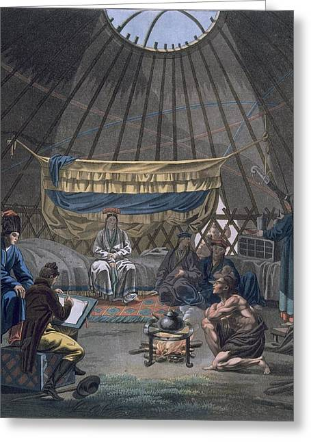 Interior Of A Kalmuk Yurt, 1812-13 Greeting Card by E. Karnejeff