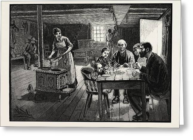 Interior Of A Settlers Cabin, Canada Greeting Card by Canadian School