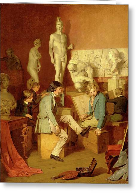 Interior Of An Academy The Critics Signed In Brown Paint Greeting Card by Litz Collection