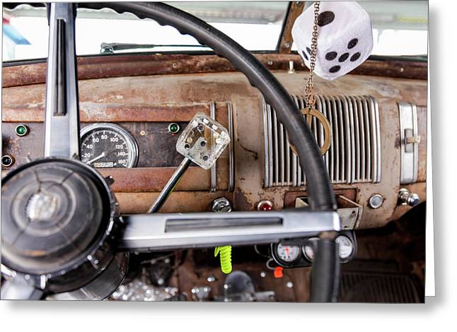 Interior Of An Old Car In A Parade Greeting Card by Julien Mcroberts