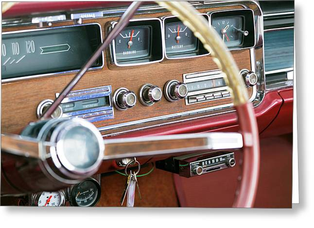Interior Of An Old Classic Car Greeting Card by Julien Mcroberts