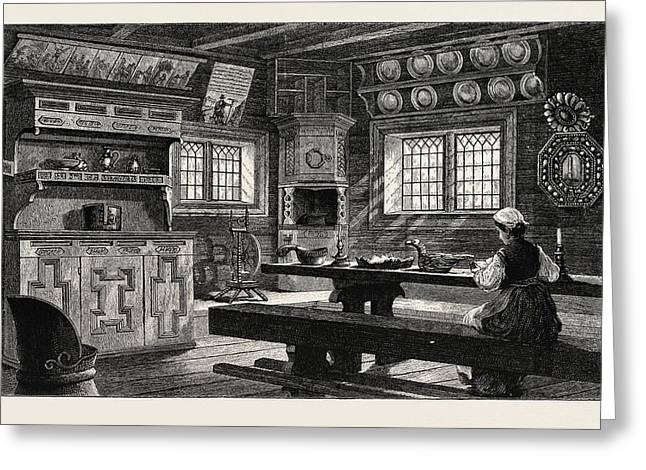Interior Of An Old Thelemarken House Now At Bygdo Greeting Card