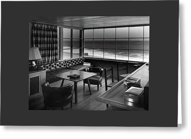 Interior Of Beach House Owned By Anatole Litvak Greeting Card by Fred R. Dapprich