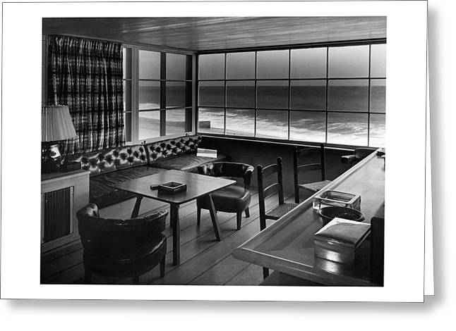 Interior Of Beach House Owned By Anatole Litvak Greeting Card