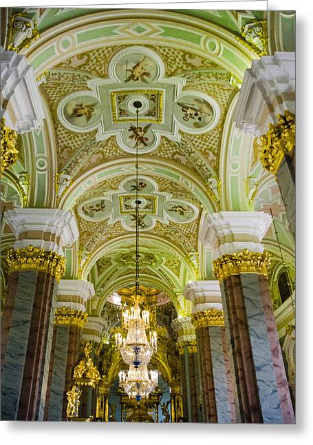 Interior Of Cathedral Of Saints Peter And Paul - St. Petersburg  Russia Greeting Card