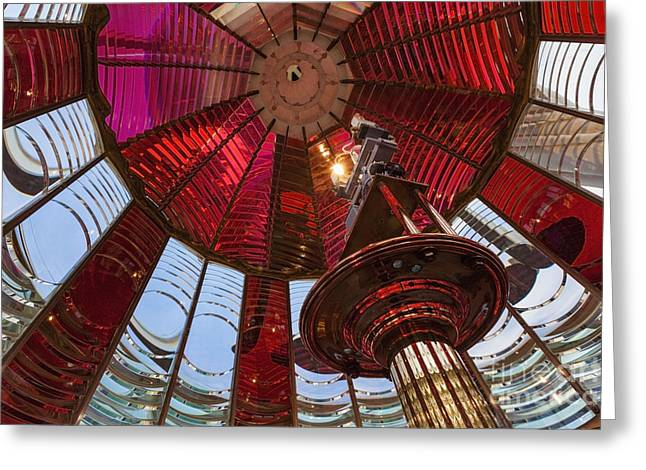Interior Of Fresnel Lens In Umpqua Lighthouse Greeting Card