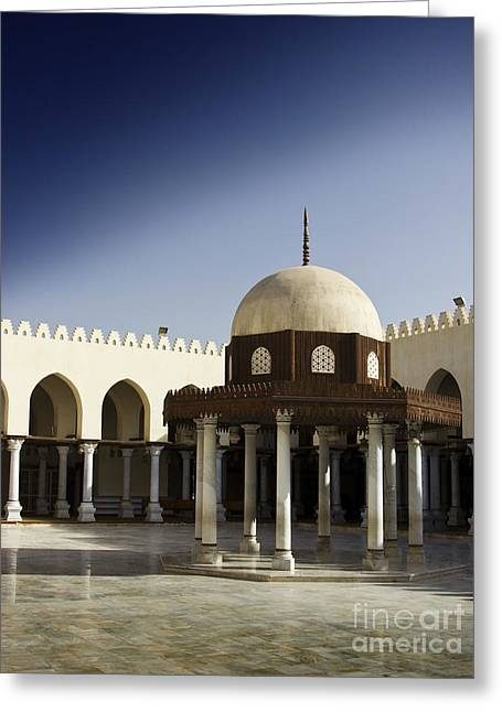 Greeting Card featuring the photograph Interior Of Islamic Mosque by Mohamed Elkhamisy
