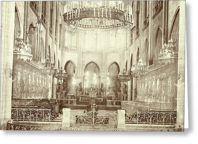 Interior Of Notre Dame In Paris, France, Anonymous Greeting Card