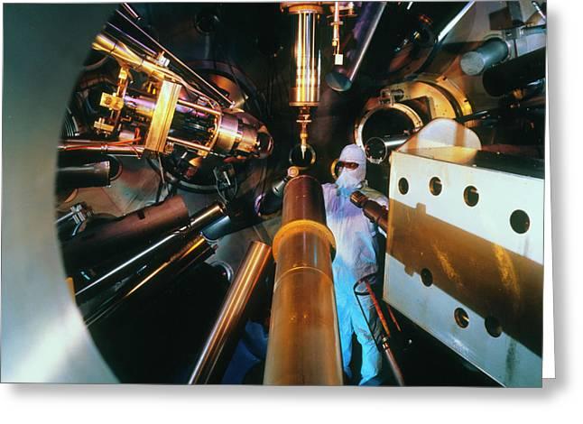 Interior Of Nova Laser Fusion Test Chamber Greeting Card