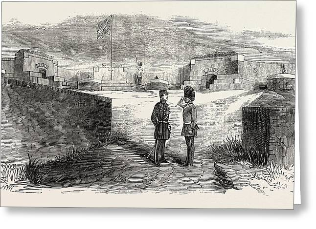 Interior Of Seaford Fort, East Sussex, Uk Greeting Card by English School