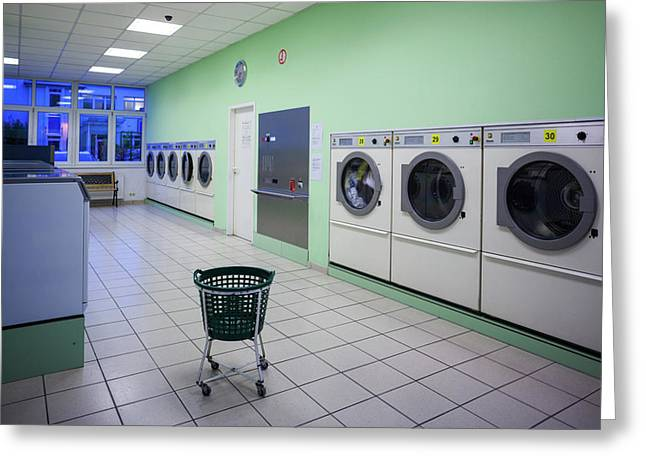 Interior Of Self-service Laundry Greeting Card