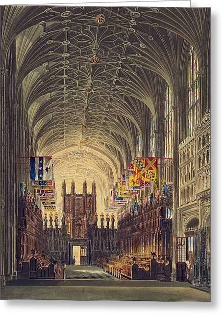 Interior Of St. Georges Chapel, Windsor Greeting Card by Charles Wild