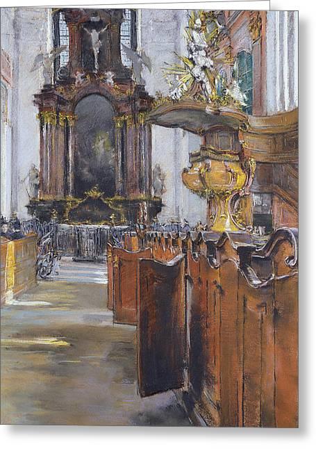 Interior Of St Michaelis In Hamburg Greeting Card by Gotthardt Johann Kuehl