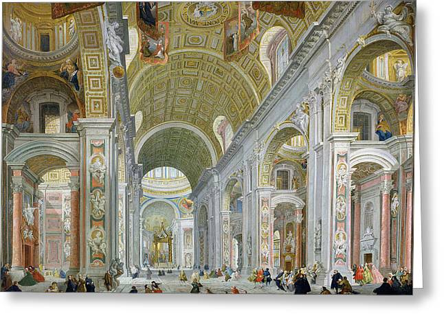 Interior Of St Peters In Rome Greeting Card by Giovanni Paolo Panini