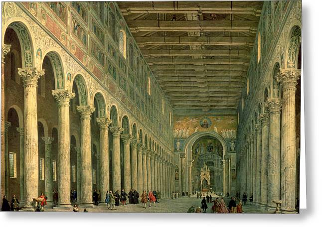 Interior Of The Church Of San Paolo Fuori Le Mura Greeting Card by Giovanni Paolo Panini
