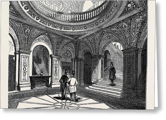 Interior Of The Conservative Club House, The Inner Hall Greeting Card