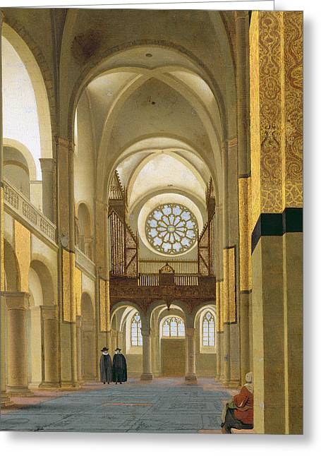 Interior Of The Marienkirche In Utrecht, 1638 Oil On Panel Detail Of 150808 Greeting Card by Pieter Jansz Saenredam