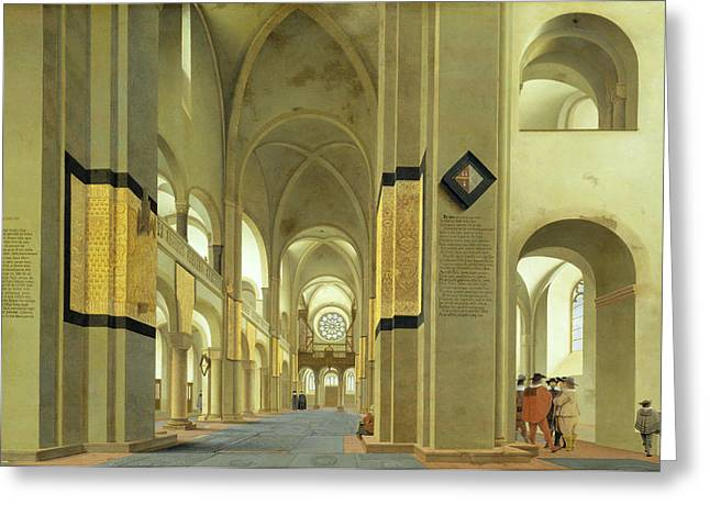 Interior Of The Marienkirche In Utrecht, 1638 Oil On Panel Greeting Card by Pieter Jansz Saenredam