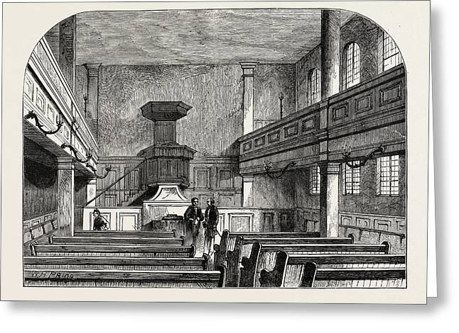 Interior Of The Moravian Chapel In Fetter Lane London Greeting Card