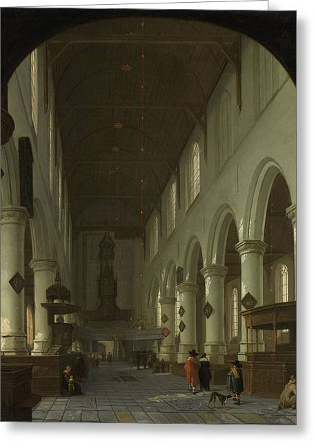 Interior Of The Oude Kerk In Delft From The Choir Greeting Card by Litz Collection