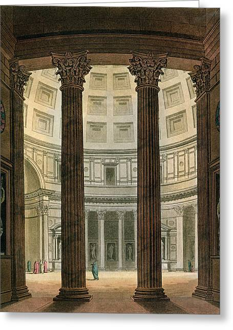 Interior Of The Pantheon, Rome Greeting Card by Fumagalli