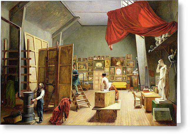 Interior Of The Studio Of Abel De Pujol 1787-1861 1836 Oil On Canvas Greeting Card by Adrienne-Marie Grandpierre-Deverzy