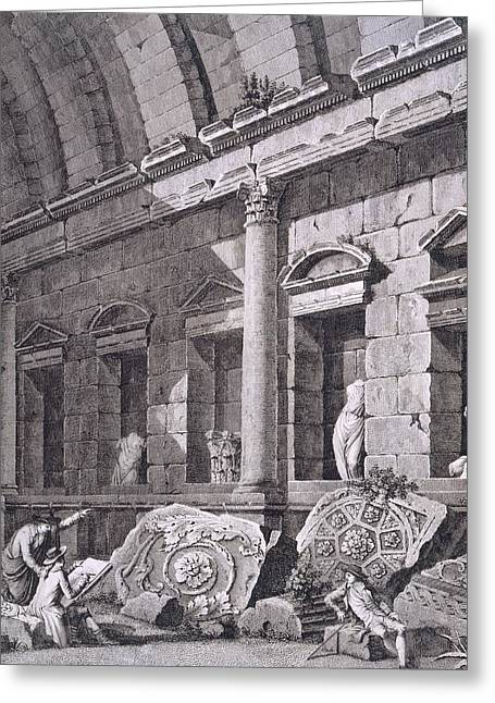 Interior Of The Temple Of Diana, Nimes Greeting Card by French School