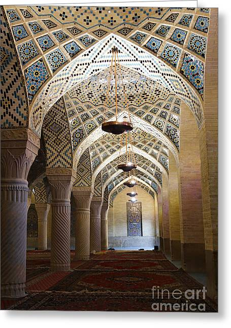 Interior Of The Winter Prayer Hall Of The Nazir Ul Mulk Mosque At Shiraz In Iran Greeting Card by Robert Preston