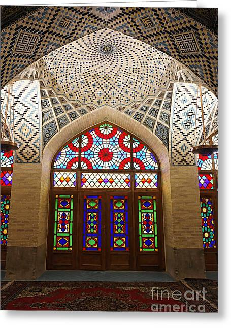 Interior Of The Winter Prayer Hall Of The Nazir Ul Mulk Mosque In Shiraz Iran Greeting Card by Robert Preston