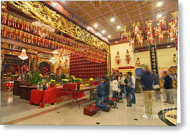 Interior Of Thien Hau Temple A Taoist Temple In Chinatown Of Los Angeles Greeting Card by Jamie Pham