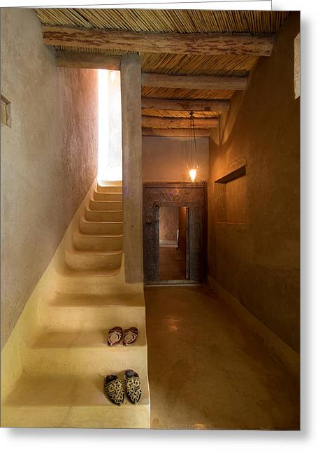 Interior Stairway With Slippers In Dar Greeting Card by Panoramic Images