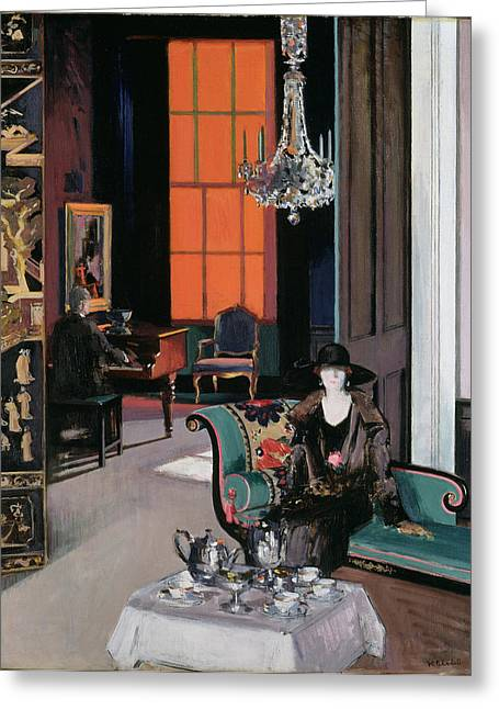 Interior - The Orange Blind, C.1928 Greeting Card by Francis Campbell Boileau Cadell