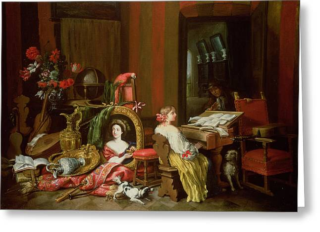 Interior With A Lady At A Harpsichord Greeting Card