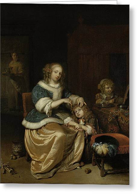 Interior With A Mother Combing Her Child's Hair Greeting Card by Litz Collection