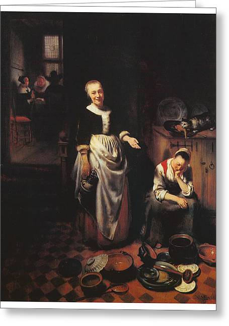 Interior With A Sleeping Maid And Her Mistress Greeting Card by Nicolaes Maes