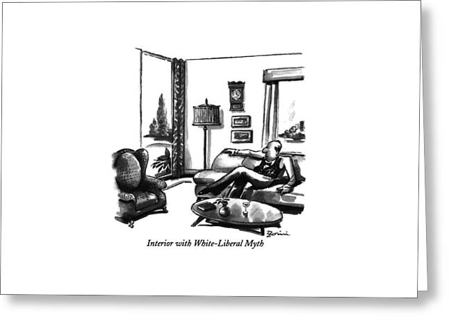 Interior With White-liberal Myth Greeting Card by Eldon Dedini