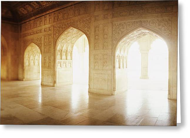 Interiors Of A Hall, Agra Fort, Agra, Uttar Pradesh, India Greeting Card by Panoramic Images