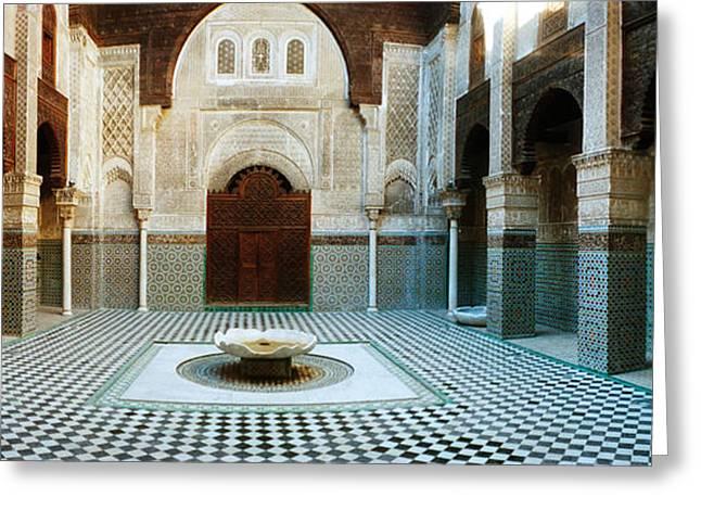 Interiors Of A Medersa, Medersa Bou Greeting Card