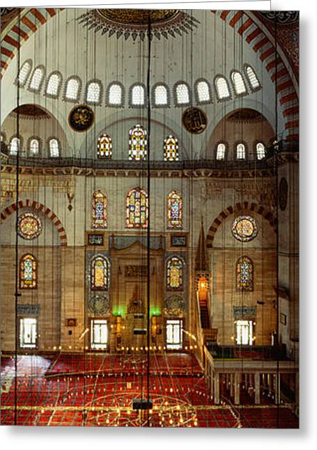 Interiors Of A Mosque, Suleymanie Greeting Card by Panoramic Images