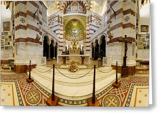 Interiors Of The Basilica, Notre Dame Greeting Card by Panoramic Images