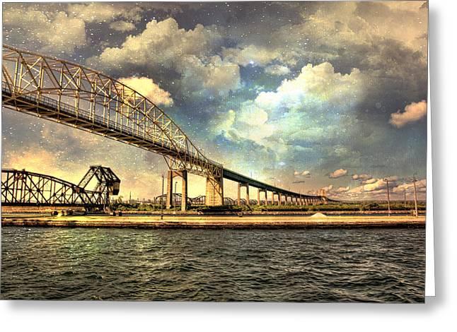 International Bridge Sault Ste Marie Greeting Card by Evie Carrier