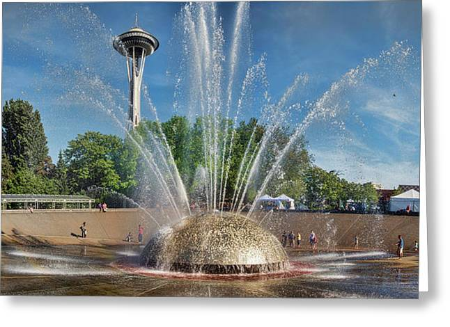 International Fountain With Space Greeting Card