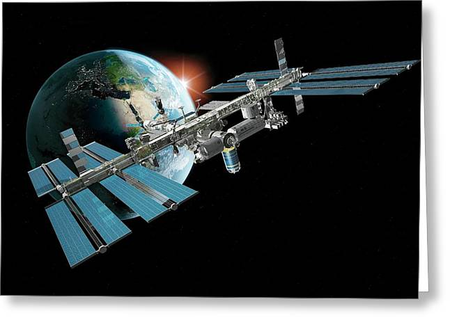 International Space Station Greeting Card by Carlos Clarivan