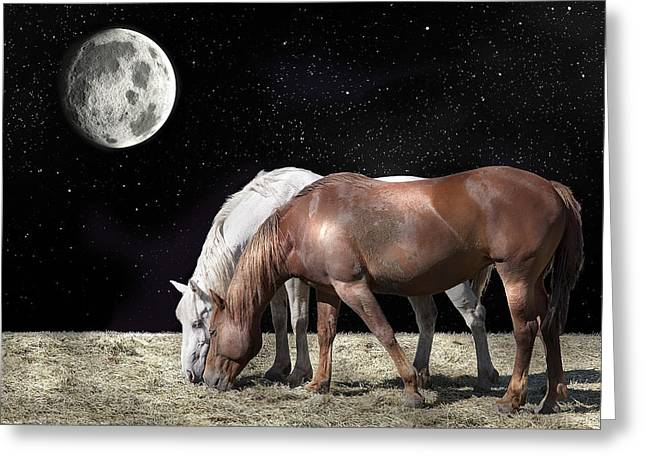 Interplanetary Horses Greeting Card by Daniel Hagerman